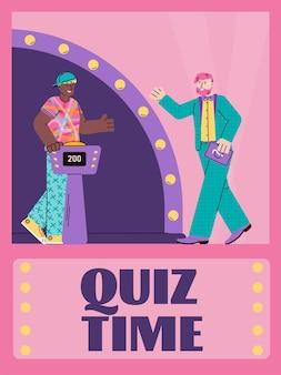 Quizzeit-werbebanner oder postervorlage mit zeichentrickfigur von quizshow-anchorman und spieler, flache vektorgrafik auf hellem hintergrund.