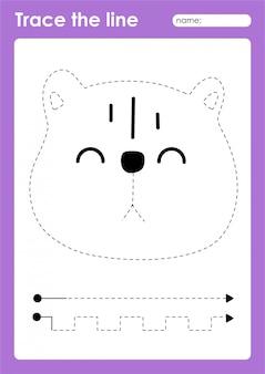 Quokka - arbeitsblatt für kinder im vorschulalter zum üben von feinmotorik