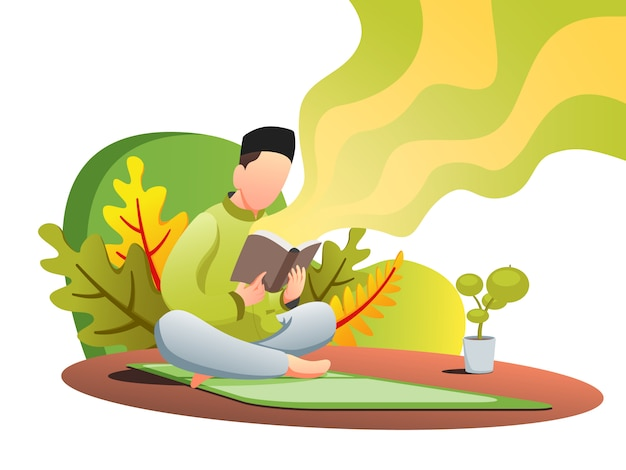 Quran reading web flat illustration