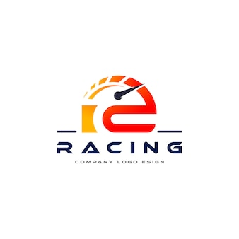 R letter racing logo-design