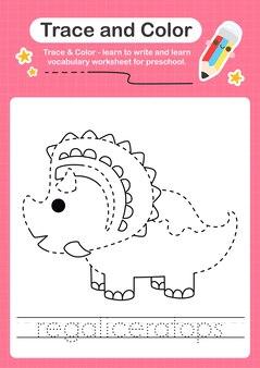 R suchwort für dinosaurier und färbung des arbeitsblatts mit dem wort regaliceratops