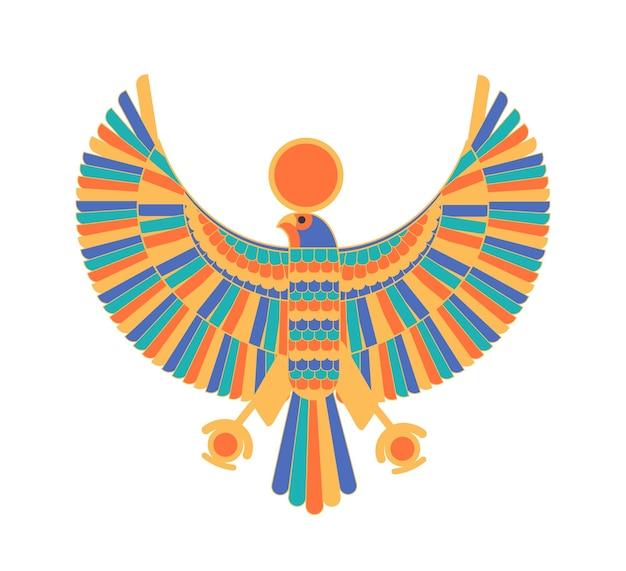 Ra - gott, schöpfer, gottheit oder fabelwesen, dargestellt als falke und sonnenscheibe