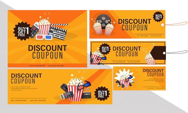 Rabatt-coupon-set für filme mit food-combo-angeboten.