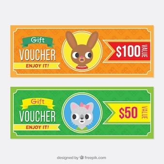 Rabatt-coupons mit lustigen tieren