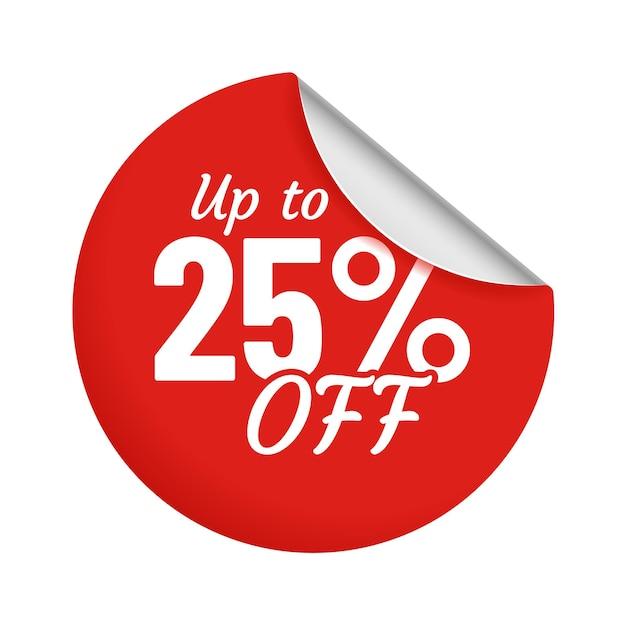 Rabatt für produkt bis zu 25 prozent roter aufkleber mit gebogenem rand. verkaufsförderung für shop- oder store-kreis-abzeichen isoliert auf weiss. niedrigpreiscoupon für kundenvektorillustration