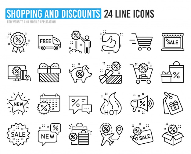 Rabatt liniensymbole. set von shopping, verkauf und neu.