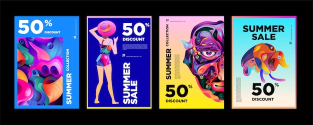 Rabatt-plakat-designschablone des sommerschlussverkaufs 50%