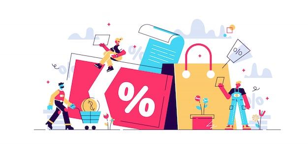 Rabatt- und kundenkarte, treueprogramm und kundenservice, prämienkarten-konzept. isolierte konzeptillustration mit winzigen leuten und floralen elementen. heldenbild für website.