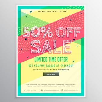 Rabatt verkauf broschüre vorlage für mit bunten abstrakten formen der vermarktung