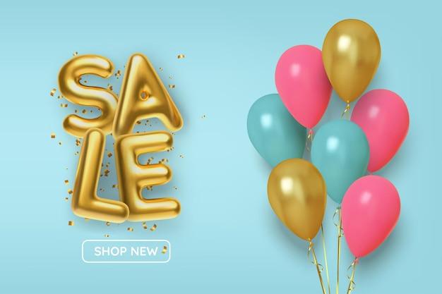 Rabattaktion aus realistischen 3d-goldkugeln mit rosa und goldenen luftballons.