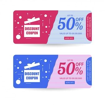 Rabattcoupon oder geschenkkartenlayout in zwei farben mit 50%