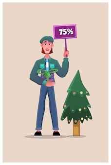 Rabatte am weihnachtstag mit geschenken. social media vorlagen