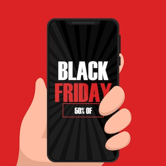 Rabatte black friday design mit smartphone