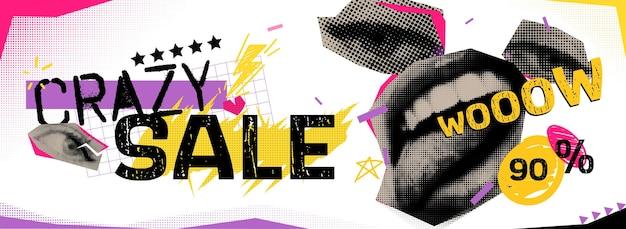 Rabatte vektor collage grunge banner. lippen und augen geteilt, darüber eine krone. verrückte 90 prozent rabatt. doodle-elemente auf einem retro-poster. stilvolles modernes werbeplakatdesign.