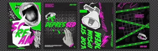 Rabatte vektor collage grunge flyer. . doodle-elemente auf retro-poster. stilvolles modernes werbeplakatdesign.