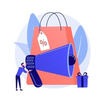 Rabattwerbung. shopping-event-promotion, mobiler markt, kundenattraktion. smm manager zeichentrickfigur. adman arbeitet mit computer.