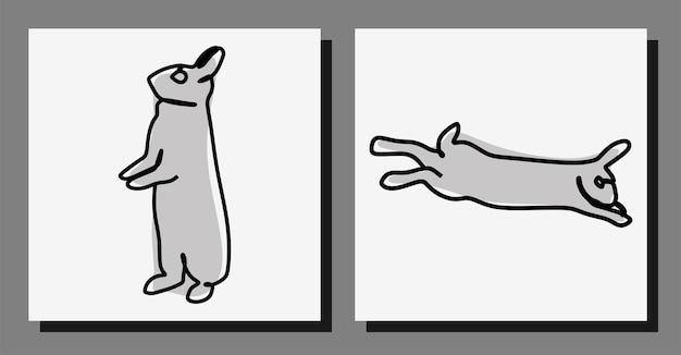 Rabbit oneline art continuous line premium-vektorset