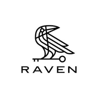 Rabe krähe schlüssel schwarzer vogel monoline linie logo symbol illustration