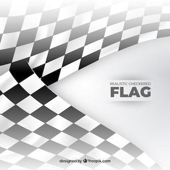 Race karierten fahnen mit realistischem design