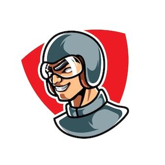 Racer e sport maskottchen logo