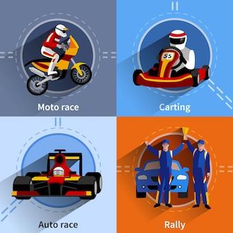 Racer icons set mit karting rallye moto und autorennen symbole