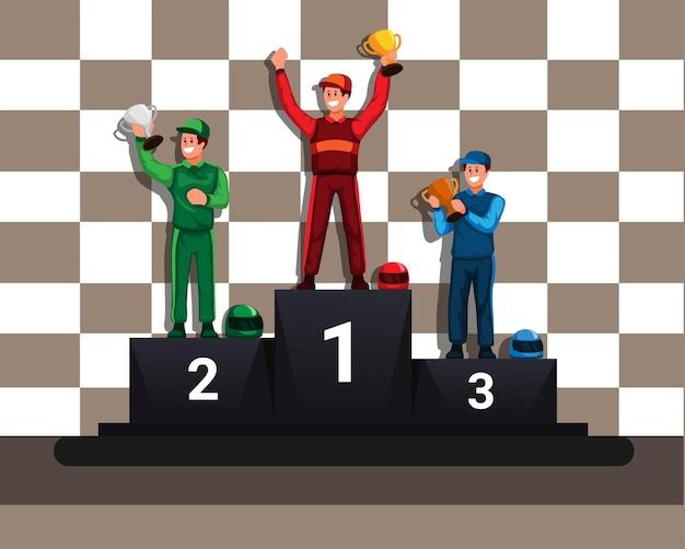 Racer siegermeister im podium cup thropy preisverleihung cartoon illustration vektor