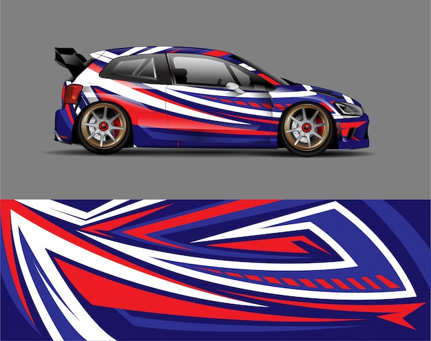 Racing car wrap aufkleber design-konzept
