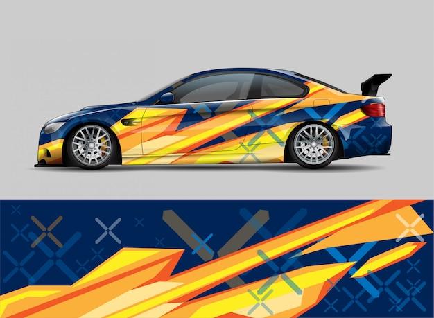 Racing car wrap aufkleber design-konzept