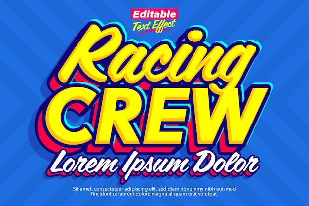 Racing crew cooler pop-text-effekt