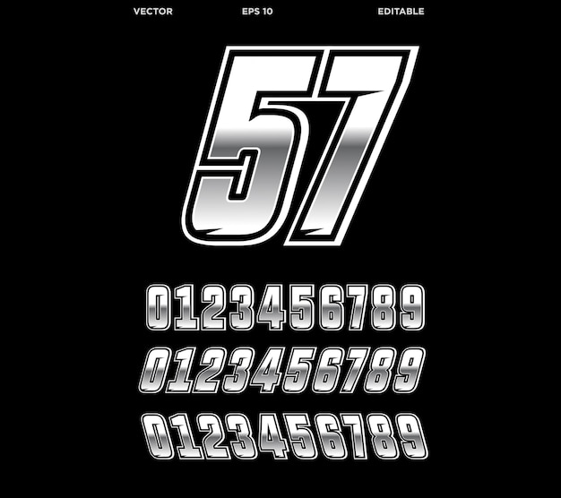 Racing number design silber edition