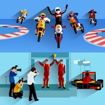 Racing und rally horizontale banner gesetzt
