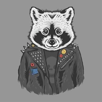 Racoon trägt eine schwarze jacke im metallstil