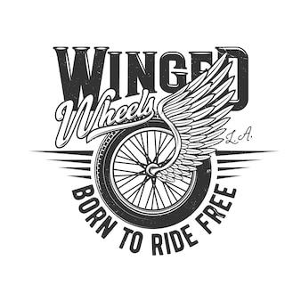 Rad auf flügel, motorradrennfahrer oder autorennen
