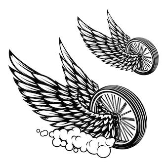 Rad mit flügelillustration lokalisiert auf weißem hintergrund