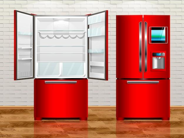 Rad offener moderner kühlschrank. rad geschlossener moderner kühlschrank. vektorillustrationskühlschrank des innenraums.