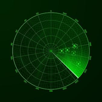 Radar. blip. erkennung von objekten auf dem radar.