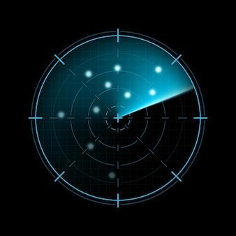 Radar isoliert auf dunklem hintergrund