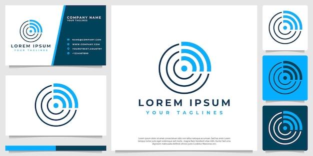 Radar-logo-konzept mit minimalistischem abstraktem stil