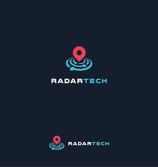 Radar-tech-vektor-logo-konzept suchmaschine placemark-symbol finden unternehmen, die isolierte logos einstellen