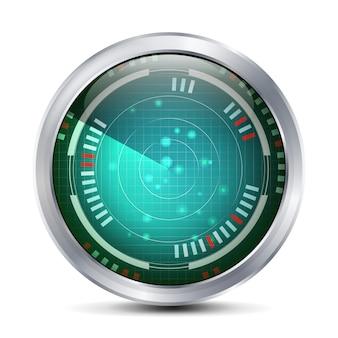 Radarbildschirm-vektor. digitaler bildschirm mit weltkarte. futuristischer hintergrund.
