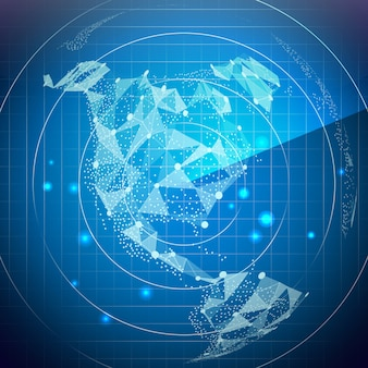 Radarbildschirm-vektor. nordamerika. digitaler bildschirm mit weltkarte.