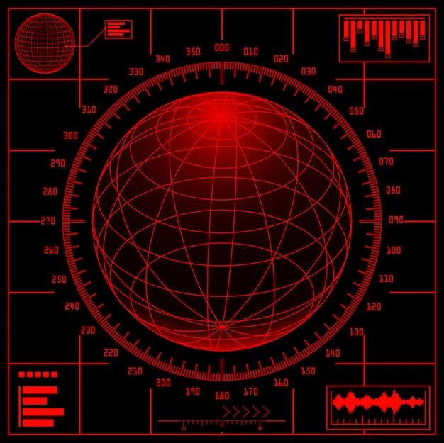 Radarschirm. digitaler globus mit skala.