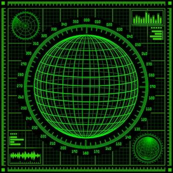 Radarschirm mit futuristischer benutzeroberfläche hud.