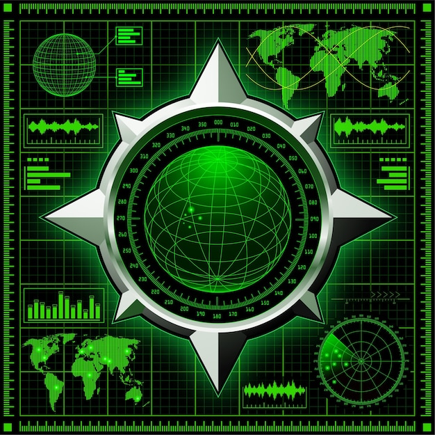 Radarschirm mit globus