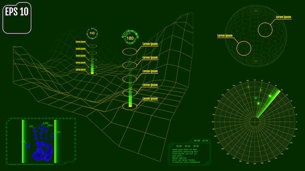 Radarschirm mit planet, karte, zielen und futuristischem benutzerinter
