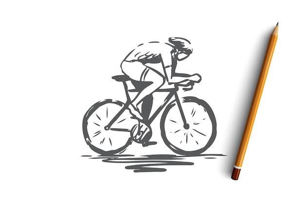 Radfahren, fahrrad, fahrrad, geschwindigkeit, sportkonzept. hand gezeichneter mann, der auf fahrradkonzeptskizze radelt. illustration.
