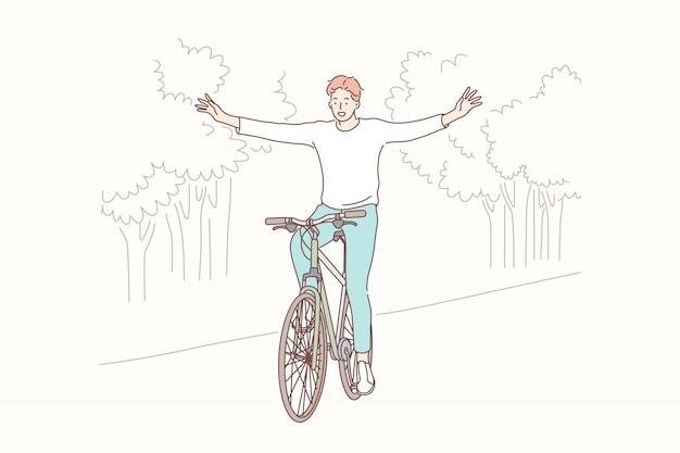 Radfahren im park, freiheit, lifestyle-konzept