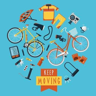 Radfahren konzept piktogramme zusammensetzung kreis drucken