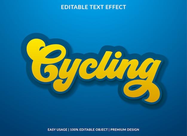 Radfahren text-effekt-vorlage mit vintage-stil