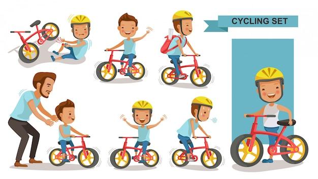 Radfahrender junge eingestellt. vater lehrt sohn. kind, das städtisches fahrrad im helm reitet. bike first und verletzte beinverletzung. männlicher rennradfahrer. spielplatz spielen.